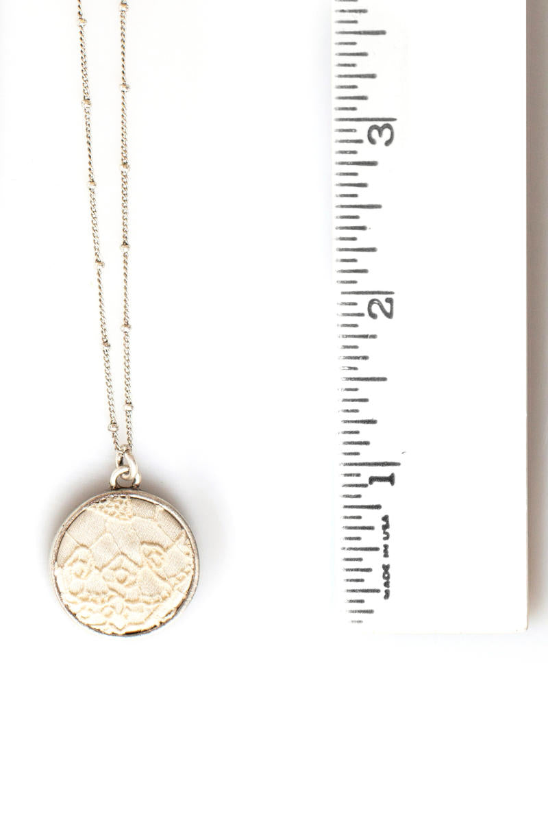 Silver Lace Keepsake Necklace with Ruler