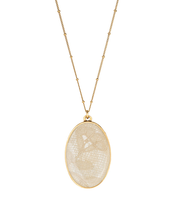 Gold Oval Wedding Keepsake Necklace