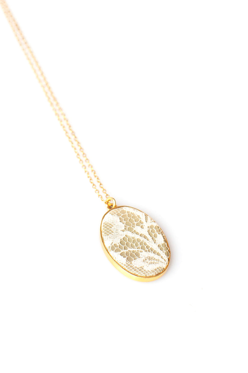 Gold Oval Lace Wedding Keepsake Necklace