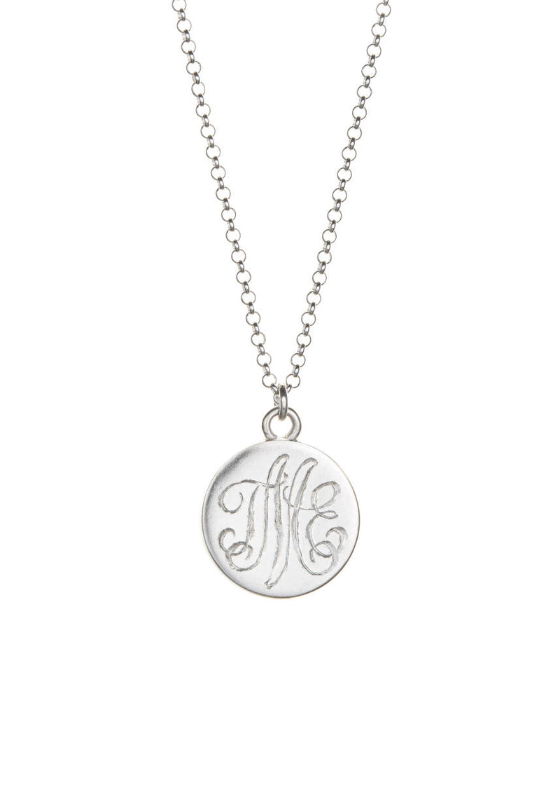 Sterling Lace Necklace with Monogram Cream