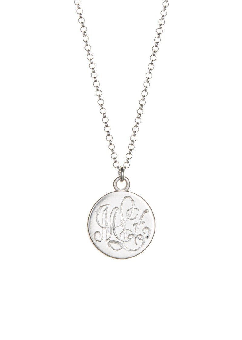 Sterling Lace Necklace with Monogram Peach