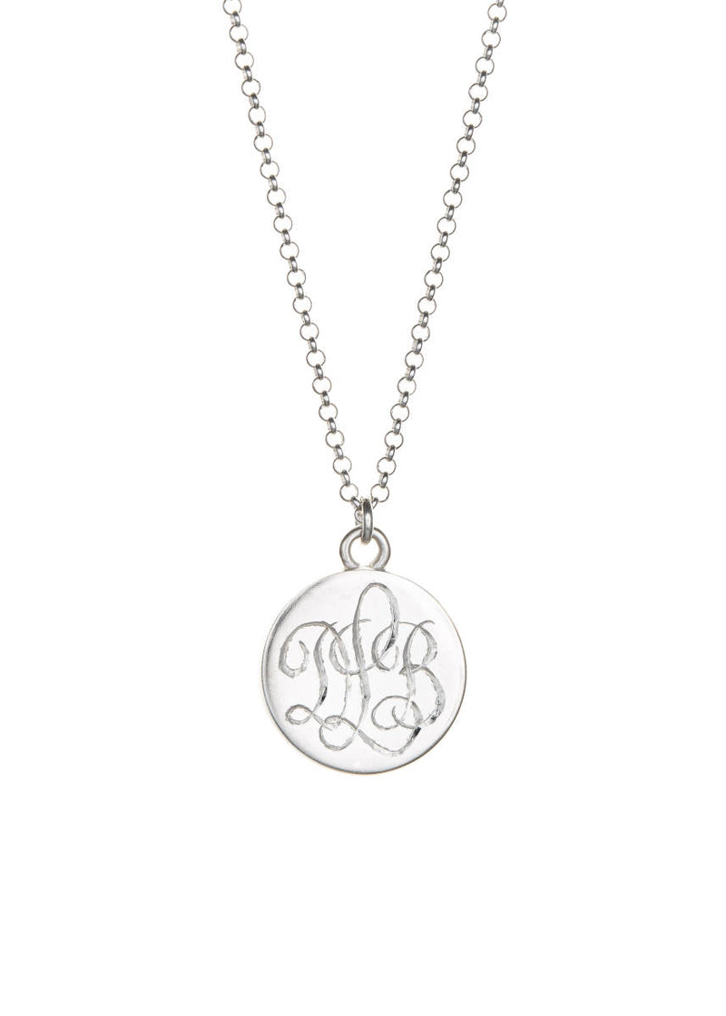 Sterling Lace Necklace with Monogram Lavender