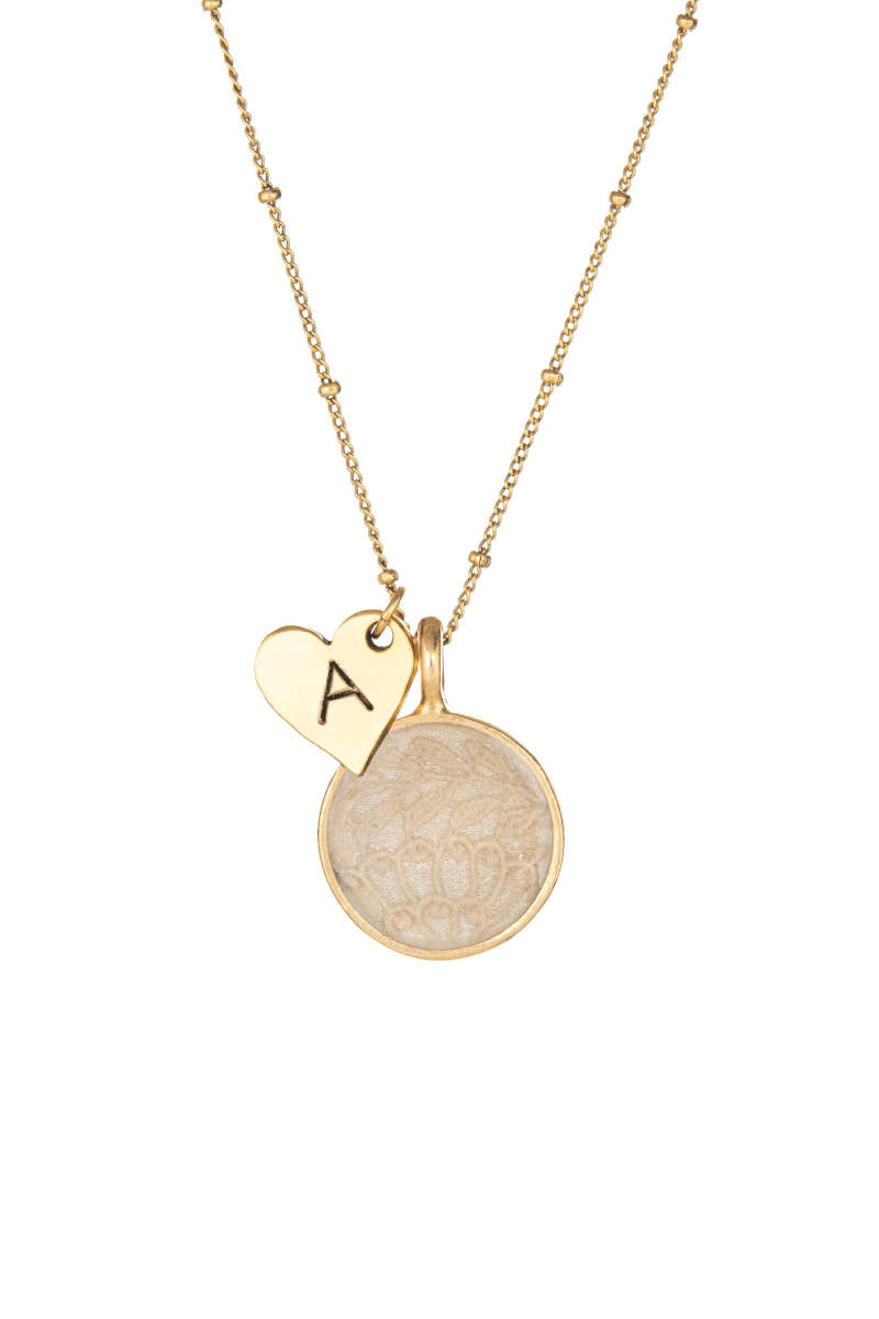 Heart Initial Keepsake Necklace - Cream