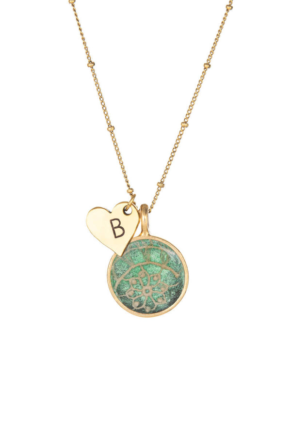 Heart Initial Keepsake Necklace - Green