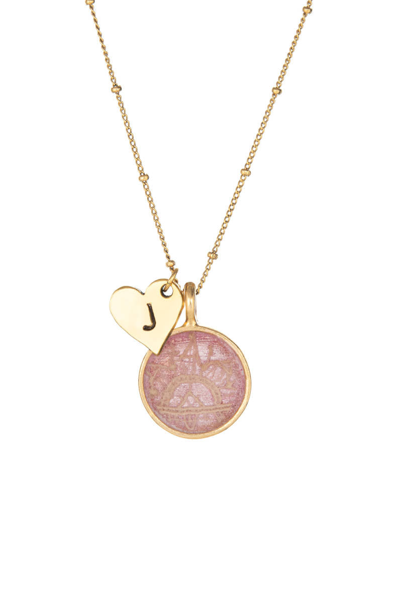 Heart Initial Keepsake Necklace - Pink