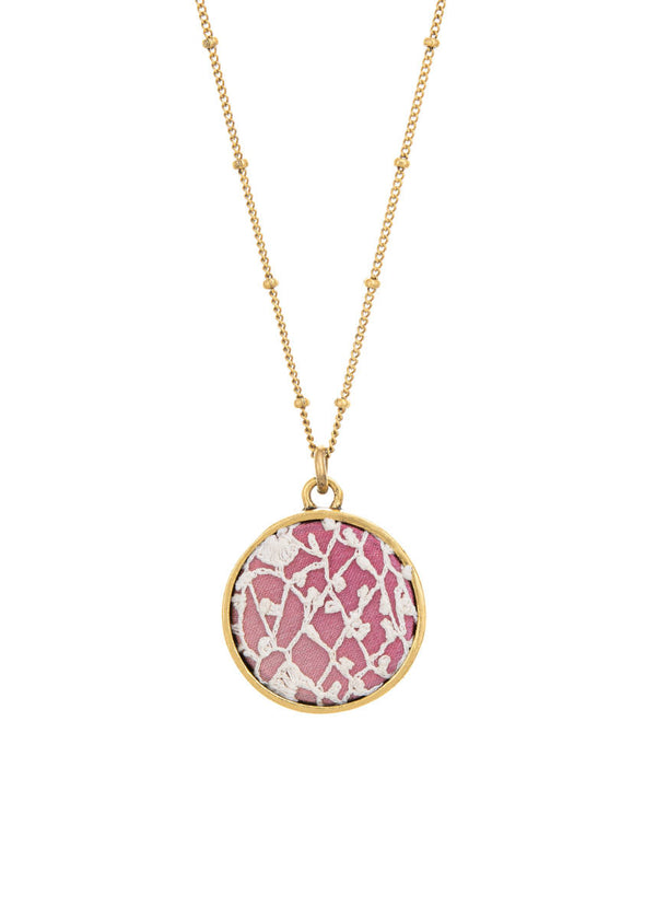 Irish Lace Keepsake Necklace - Pink
