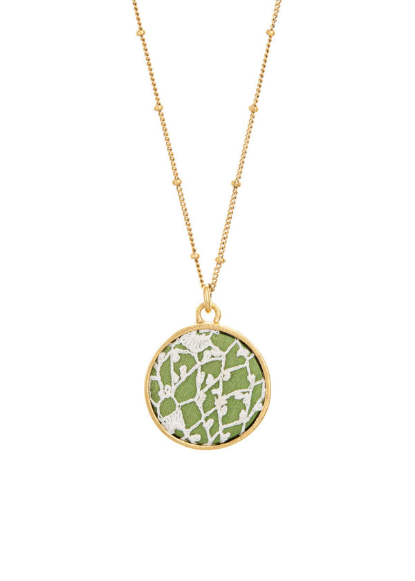 Irish Lace Keepsake Necklace - Green