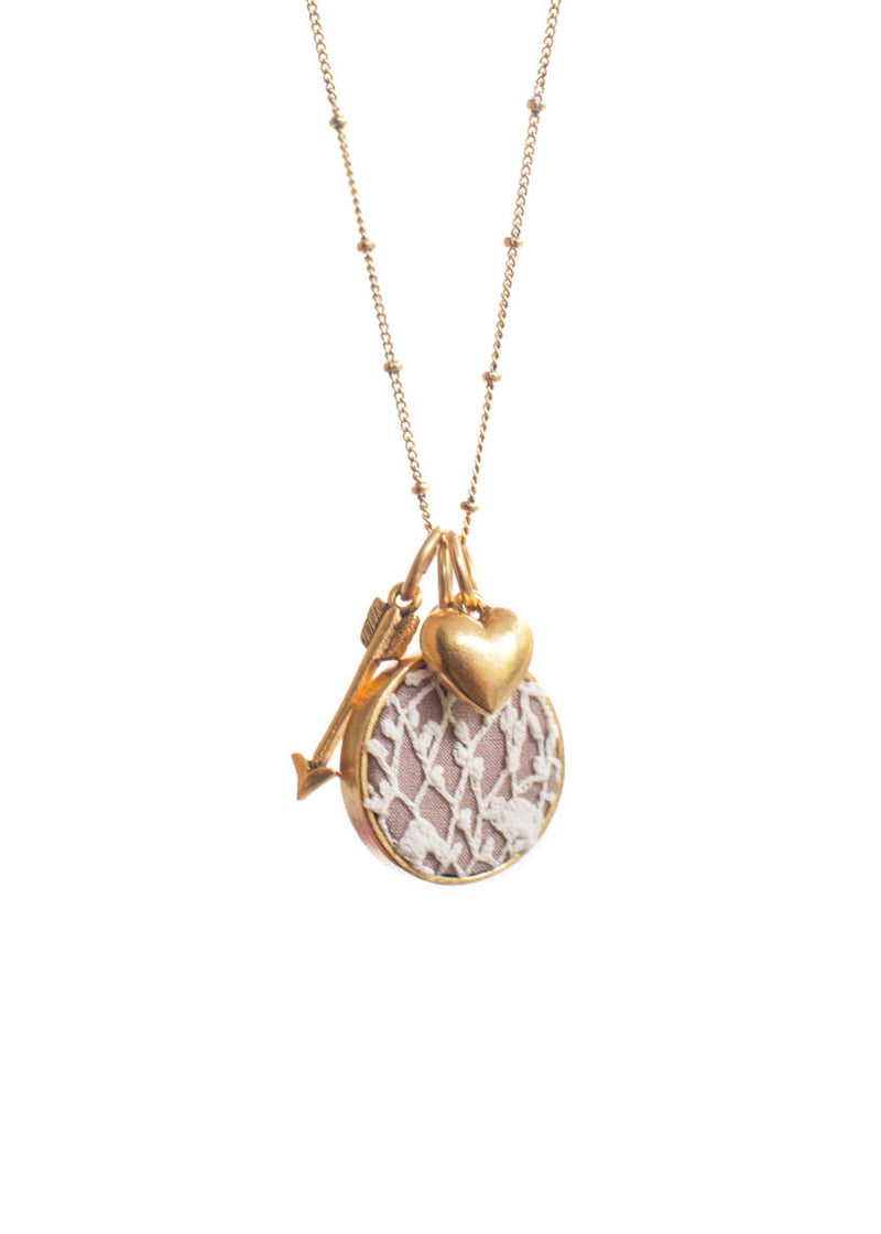 Lavender Lace Necklace with Heart & Arrow Charms