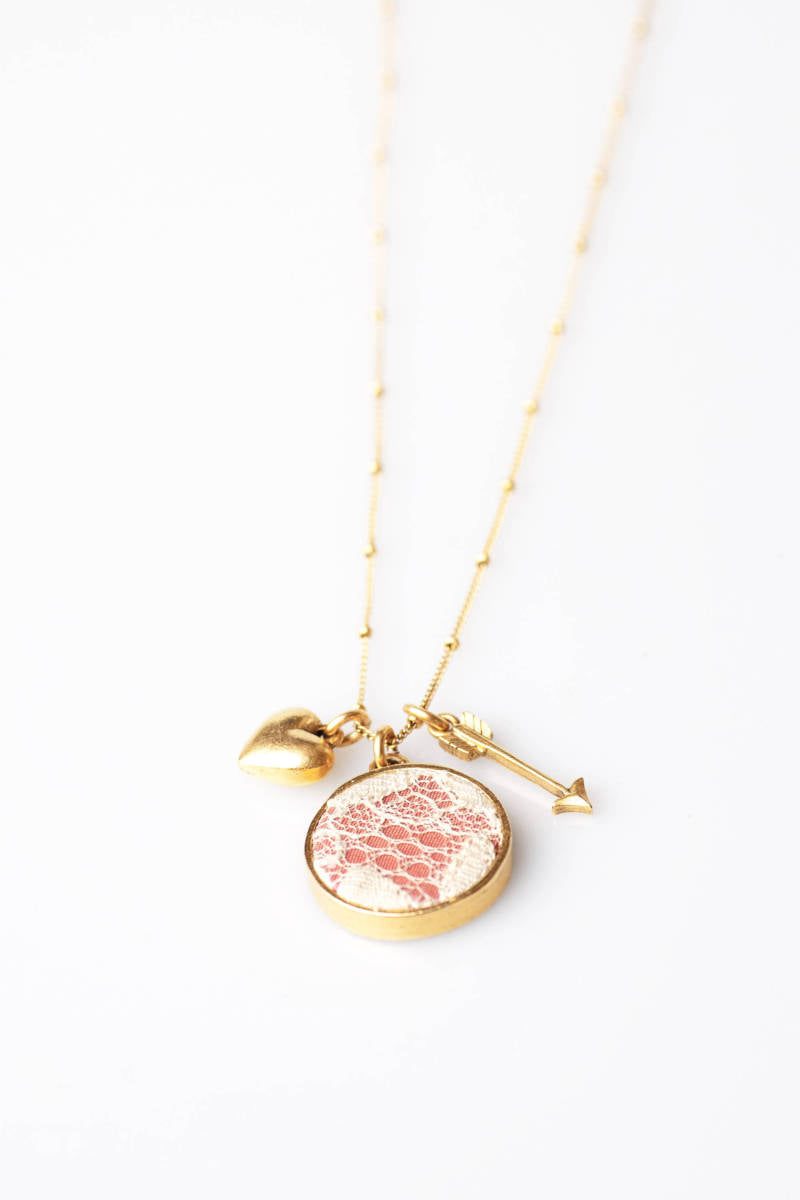 Pink Keepsake Necklace with Heart & Arrow Charms