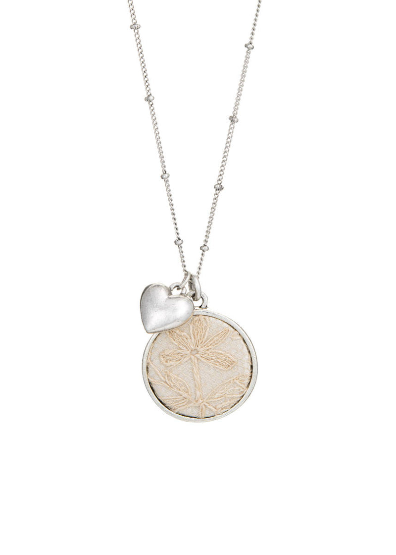 Silver Keepsake Necklace with Heart Charm