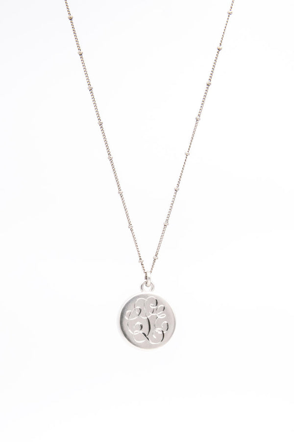 Monogram on Back of Sterling Silver Lace Wedding Keepsake Pendant Necklace