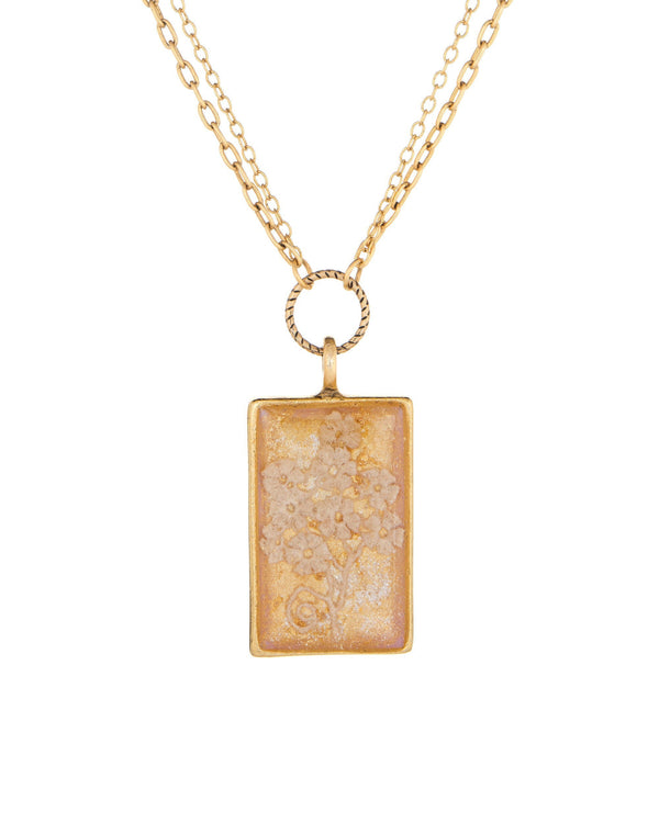 Rectangle Necklace with Pearls & Antique Lace