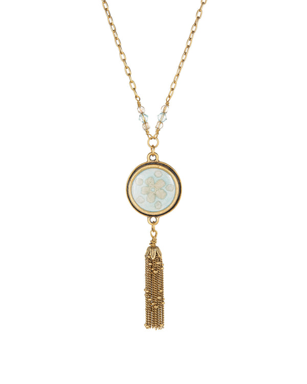 Blue & Gold Tassel Necklace