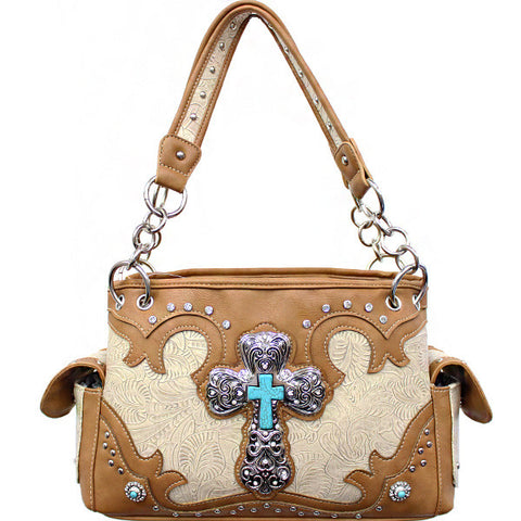 Concealed Carry Western Tooled Turquoise Cross Handbag-G939W80LCR-BG