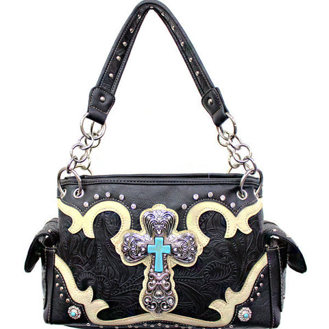 Concealed Carry Western Tooled Turquoise Cross Handbag-G939W80LCR-BK