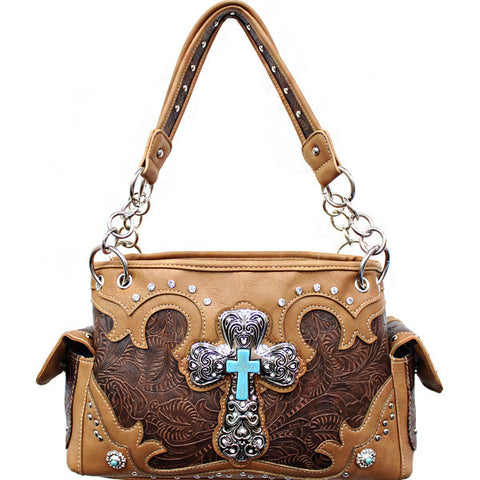 Concealed Carry Western Tooled Turquoise Cross Handbag-G939W80LCR-BR