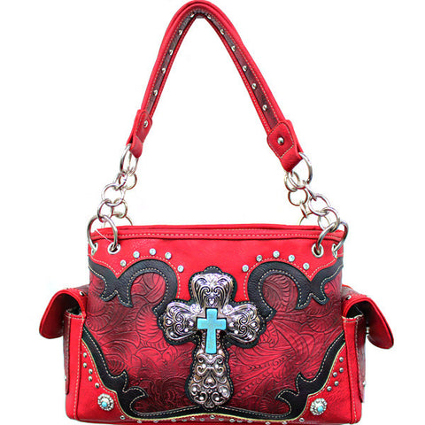 Concealed Carry Western Tooled Turquoise Cross Handbag-G939W80LCR-RD