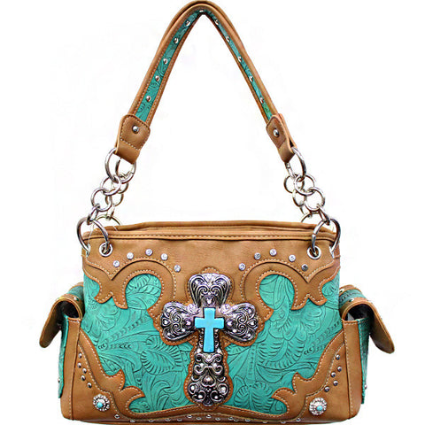 Concealed Carry Western Tooled Turquoise Cross Handbag-G939W80LCR-TL