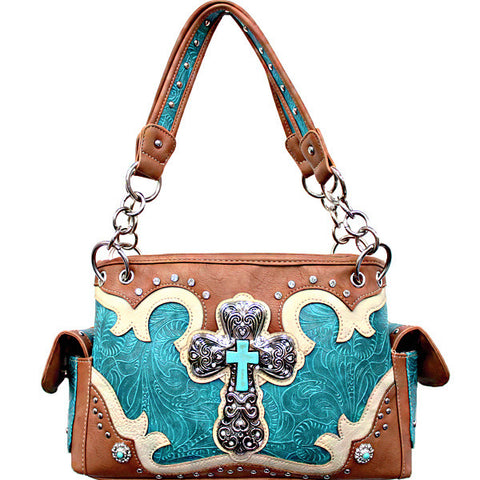 Concealed Carry Western Tooled Turquoise Cross Handbag-G939W80LCR-TQ