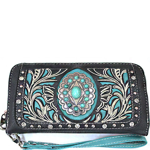 Western Turquoise Stone accented Cancho Wristlet Wallet-SER245-BK