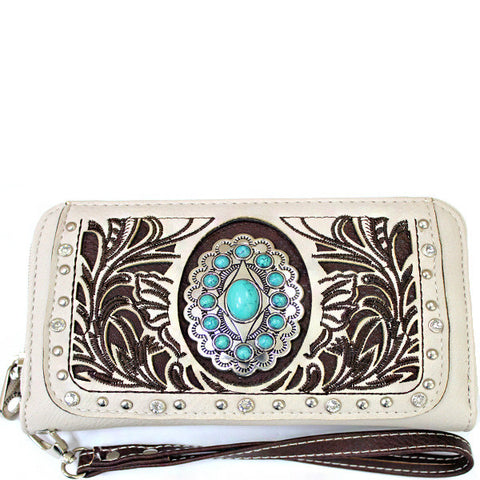 Western Turquoise Stone accented Cancho Wristlet Wallet-SER245-BO