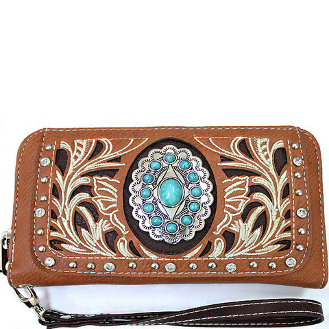 Western Turquoise Stone accented Cancho Wristlet Wallet-SER245-TP