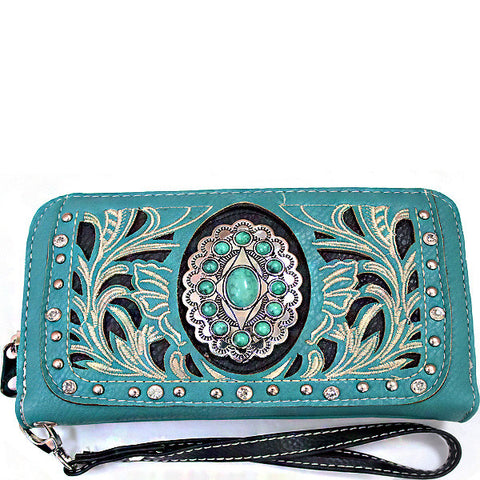 Western Turquoise Stone accented Cancho Wristlet Wallet-SER245-TQ