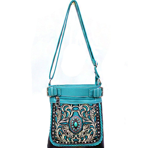 Concealed Carry Western Turquoise Stone accented Cancho Crossbody/Messenger Bag-SER938-BK