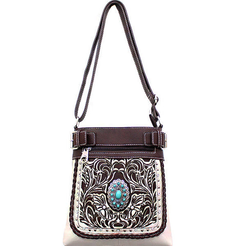 Concealed Carry Western Turquoise Stone accented Cancho Crossbody/Messenger Bag-SER938-BO