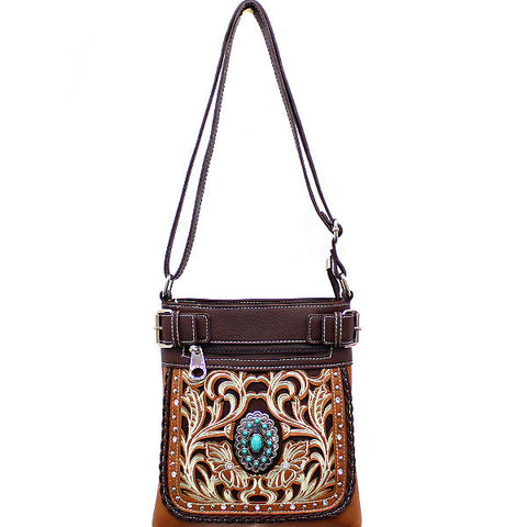 Concealed Carry Western Turquoise Stone accented Cancho Crossbody/Messenger Bag-SER938-TP