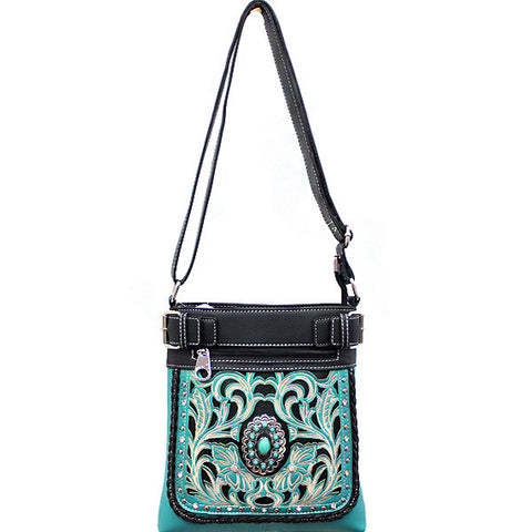 Concealed Carry Western Turquoise Stone accented Cancho Crossbody/Messenger Bag-SER938-TQ