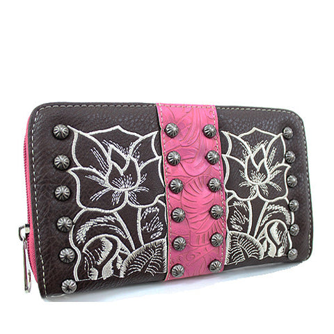 TFL245_Western Tooled accented Wristlet Wallet