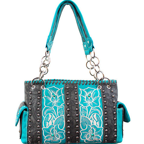 TFL893_Concealed Carry Western Tooled accented Handbag