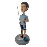 Load image into Gallery viewer, Holding a fish fishing man bobblehead