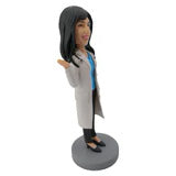 White Coat Woman Doctor Customized Bobblehead
