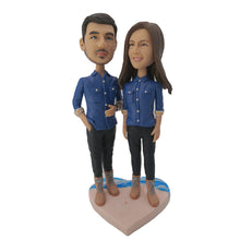 Load image into Gallery viewer, Wearing Jeans Couple Custom Bobblehead