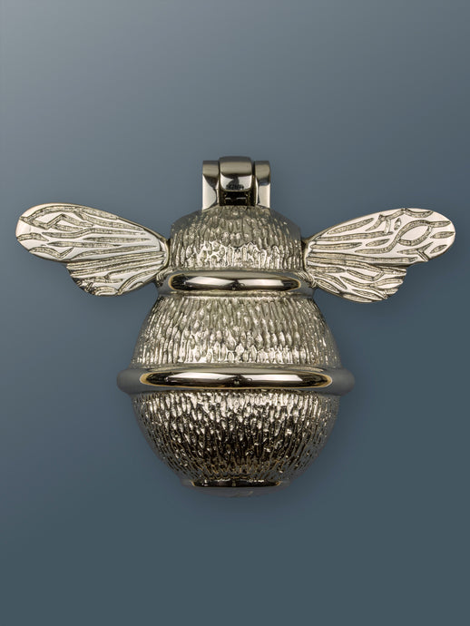Brass Bumble Bee Door Knocker - Nickel Finish - Shop unique door knocker, wreaths & Christmas gift cards online! Brass bee
