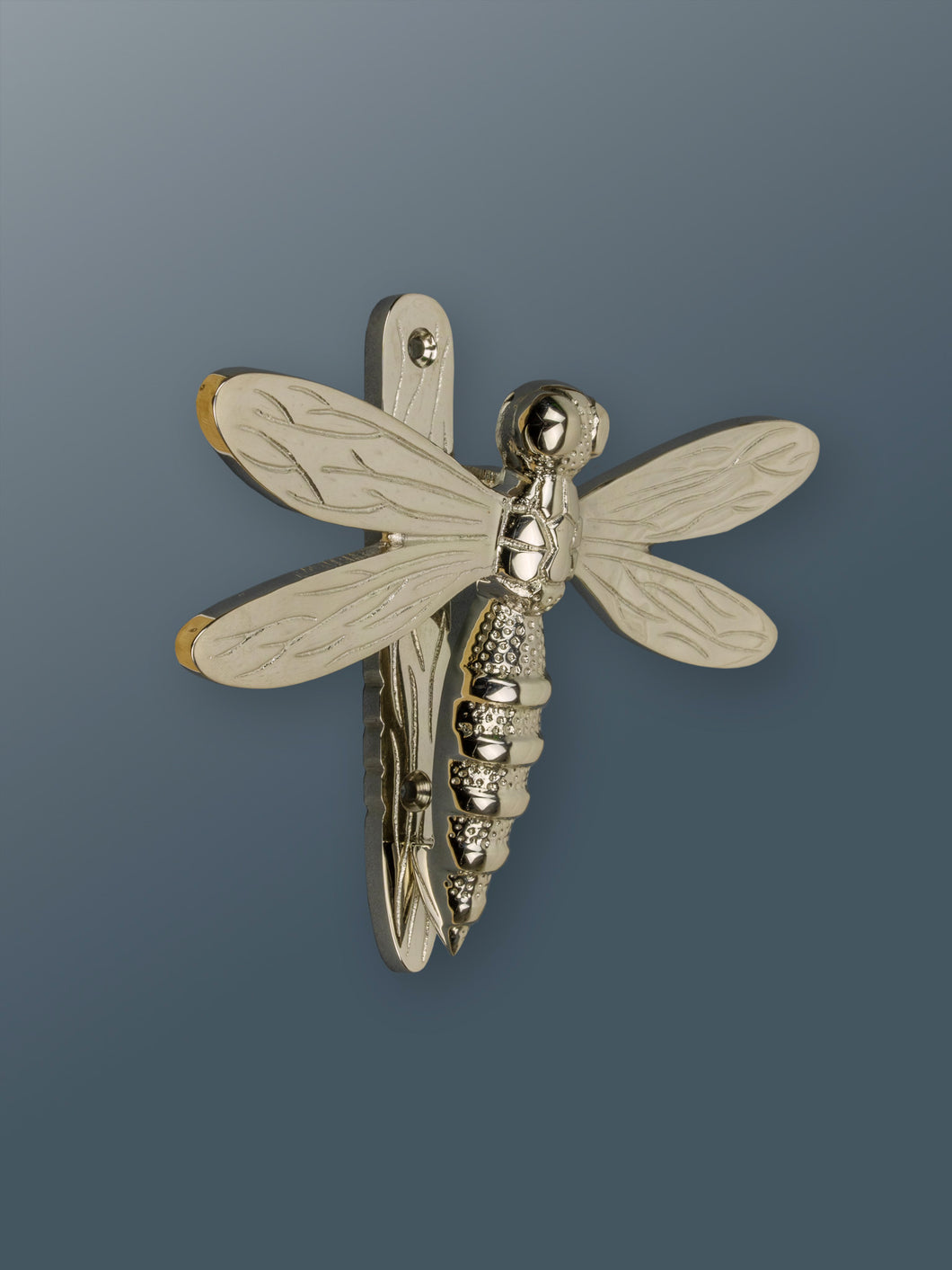 Brass Dragonfly Door Knocker - Nickel Finish - Shop unique door knocker, wreaths & Christmas gift cards online! Brass bee