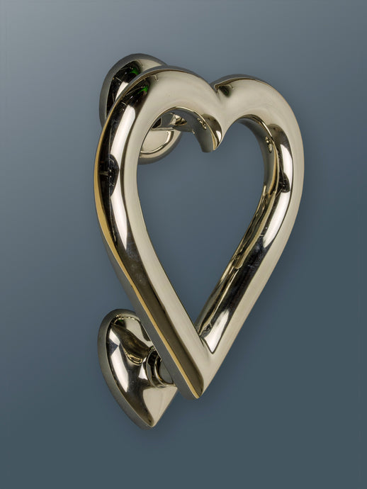 Brass Love Heart Door Knocker - Nickel Finish - Shop unique door knocker, wreaths & Christmas gift cards online! Brass bee