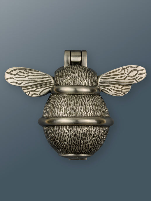 Brass Bumble Bee Door Knocker - Pewter Finish - Shop unique door knocker, wreaths & Christmas gift cards online! Brass bee