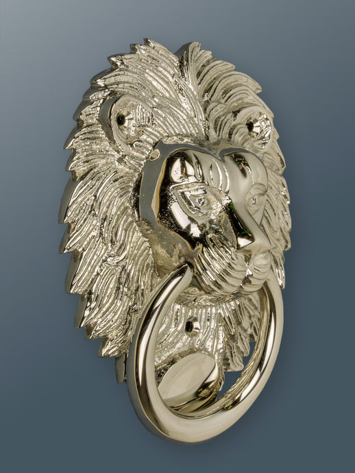 Brass Lion Door Knocker - Nickel Finish - Shop unique door knocker, wreaths & Christmas gift cards online! Brass bee