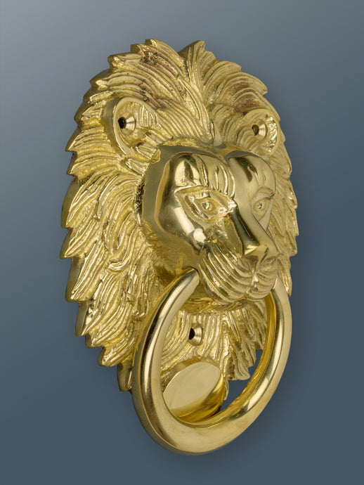 Brass Lion Door Knocker - Brass Finish - Shop unique door knocker, wreaths & Christmas gift cards online! Brass bee