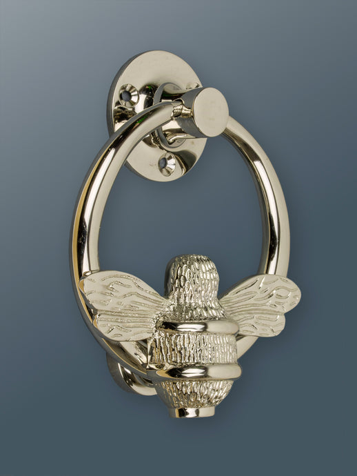 Brass Bumble Bee Ring Door Knocker - Nickel Finish - Shop unique door knocker, wreaths & Christmas gift cards online! Brass bee