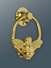 Load image into Gallery viewer, Brass Bumble Bee Ring Door Knocker - Brass Finish - Brass bee