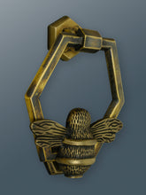 Load image into Gallery viewer, Honeycomb Bee Door Knocker - Heritage Brass Finish - Shop unique door knocker, wreaths & Christmas gift cards online! Brass bee