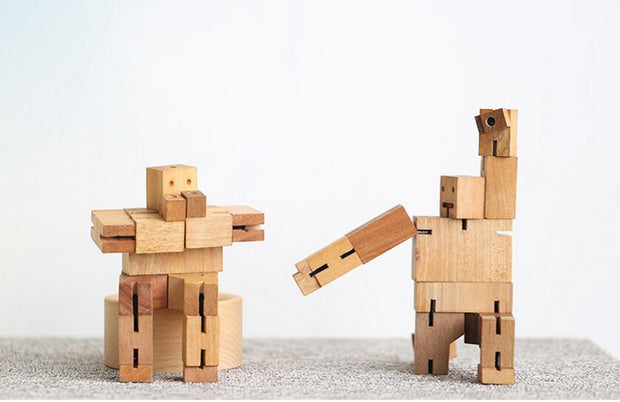 Wooden CubeBot Puzzle Toy