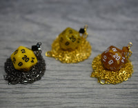 Custom D20 Necklace - Yellow and Gold Dice Accessories