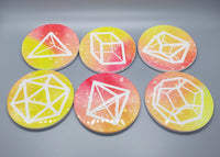 Polyhedral Dice Coaster Set - Galactic Sunrise