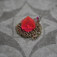 Rubellite Gamescience D20 Dice Necklace - Polycarbonate Tabletop Gaming Jewelry with Crystal Accents