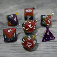 Rainbow Dice Ornaments - Tabletop Gaming Christmas Decorations with Swarovski Crystal Accents